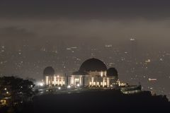 Griffith Park Observatory Foggy Night Stock Photo
