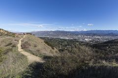 Griffith Park Trail in Los Angeles California. Griffith Park hiking trail above Los Angeles and Glendale in the Santa Monica Mountains of Southern California Stock Photography