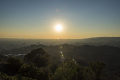 Griffith Park Trails and Century City at Sunset Stock Photography
