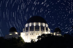 Griffiths Observatory with Star Trails Royalty Free Stock Image