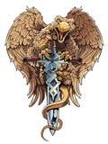 Griffon avec l'épée Élément héraldique de conception Images libres de droits
