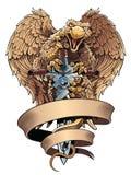 Griffon avec l'épée et la plaquette Élément héraldique de conception Photos libres de droits