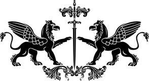 Griffon avec le pochoir d'épée Images libres de droits