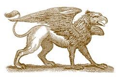 Griffon ou gryphon hybride légendaire mythique de créature avec la moitié avant d'un aigle répandant ses ailes et la moitié arriè illustration libre de droits
