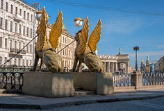 Griffon sculpture of Bank bridge in Saint Petersburg, Russia. Royalty Free Stock Photo