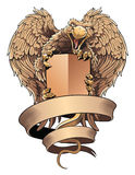 Griffon with shield and placard. Heraldic design element. Stock Image