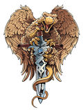 Griffon with sword. Heraldic design element. Royalty Free Stock Images