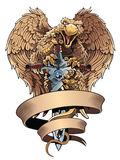 Griffon with sword and placard. Heraldic design element. Royalty Free Stock Photos