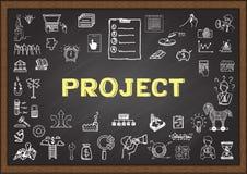 Griffonnage au sujet du projet sur le tableau illustration stock
