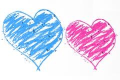 Griffonnage bleu et rose de coeurs Photo libre de droits