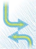 Griffonnage bleue de flèche Photos libres de droits