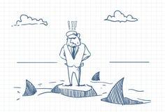 Griffonnage confus d'homme d'affaires se tenant sur la roche avec des requins autour du concept de danger et de crise illustration de vecteur