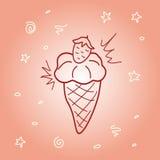 Griffonnage courant de crème glacée de fraise de vecteur Photographie stock libre de droits