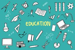 Griffonnage d'éducation avec l'objet de couleur et d'éducations comme la règle de carnet illustration de vecteur