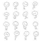 Griffonnage d'émotions de caractères de collection Image stock