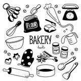 Griffonnage d'équipement de boulangerie Le dessin de main dénomme la boulangerie Image libre de droits