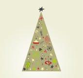 Griffonnage d'arbre de Noël Image stock