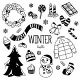 Griffonnage d'hiver Le dessin de main dénomme des articles d'hiver illustration de vecteur