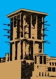 Griffonnage d'illustration de tour de vent de Dubaï Image stock
