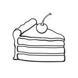 Griffonnage d'un morceau de gâteau avec de la crème et la cerise illustration de vecteur
