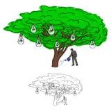Griffonnage de arrosage de croquis d'illustration de vecteur d'arbre d'ampoule d'homme d'affaires Illustration de Vecteur