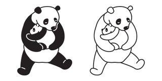 Griffonnage de bande dessinée de caractère d'illustration de nounours d'ours blanc de logo d'icône de vecteur de Panda Bear Illustration de Vecteur