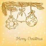 Griffonnage de boules de Noël Image stock