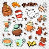 Griffonnage de café et de thé Boissons chaudes avec les autocollants, les corrections et les insignes doux de nourriture Image libre de droits