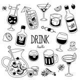 Griffonnage de cocktail Styles de dessin de main de boisson Photographie stock libre de droits