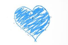 Griffonnage de coeur bleu Images libres de droits