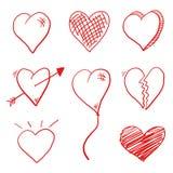 Griffonnage de coeur d'amour Photographie stock libre de droits