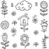 Griffonnage de collection de fleur de thème de ressort Image stock