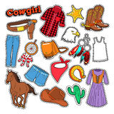 Griffonnage de cow-girl pour l'album, les autocollants, les corrections, les insignes avec le cheval et les dents Photographie stock