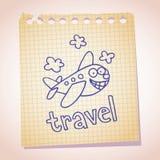 Griffonnage de croquis de papier de note de mascotte d'avion de bande dessinée Photographie stock