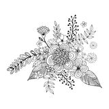 Griffonnage de fleur de Hydrengea dessinant à main levée, page de coloration avec le griffonnage Photo libre de droits