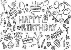 Griffonnage de joyeux anniversaire réglé avec les éléments tirés par la main Images libres de droits