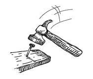 Griffonnage de marteau et de clou illustration de vecteur