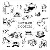 Griffonnage de menu de petit déjeuner, styles de dessin de main de menu de petit déjeuner image libre de droits