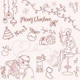 Griffonnage de Noël illustration stock