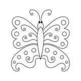 Griffonnage de papillon de croquis dessiné à la main Photo libre de droits