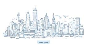 Griffonnage de paysage urbain de New York illustration de vecteur