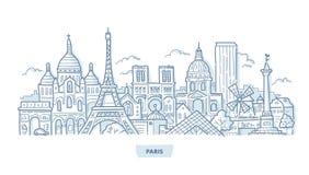Griffonnage de paysage urbain de Paris illustration de vecteur