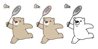 Griffonnage de sport d'illustration de personnage de dessin animé de raquette de badminton de logo d'icône d'ours blanc de vecteu illustration libre de droits