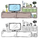 Griffonnage de télévision et de meubles de salon photographie stock