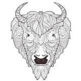 Griffonnage de tête de bison illustration de vecteur