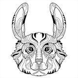 Griffonnage de tête de lapin avec le nez noir Image libre de droits