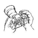 Griffonnage de vecteur d'illustration tiré par la main de la main de croquis tenant la came illustration de vecteur