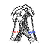 Griffonnage de vecteur d'illustration tiré par la main des WI de prière de mains de croquis Photos stock
