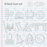 Griffonnage des icônes d'école Image stock