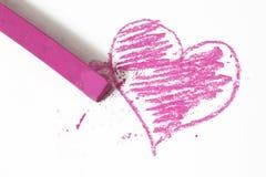 Griffonnage en pastel de bâtons de coeur rose Photo libre de droits